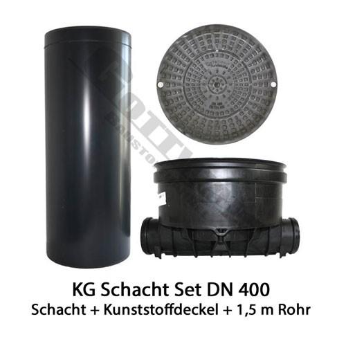 KG Schacht Set Dn 400 begehbar Kunststoffdeckel - gerader Durchlauf - 1,5 Meter Steigrohr