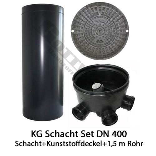 KG Schacht Set Dn 400 begehbar Kunststoffdeckel - 3 Fach Durchlauf - 1,5 Meter Steigrohr