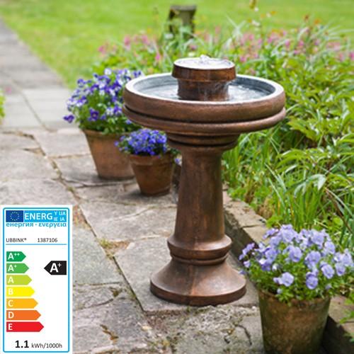 Springbrunnen - Vögeltränke inkl LED - Wasserspiel für die Terrasse