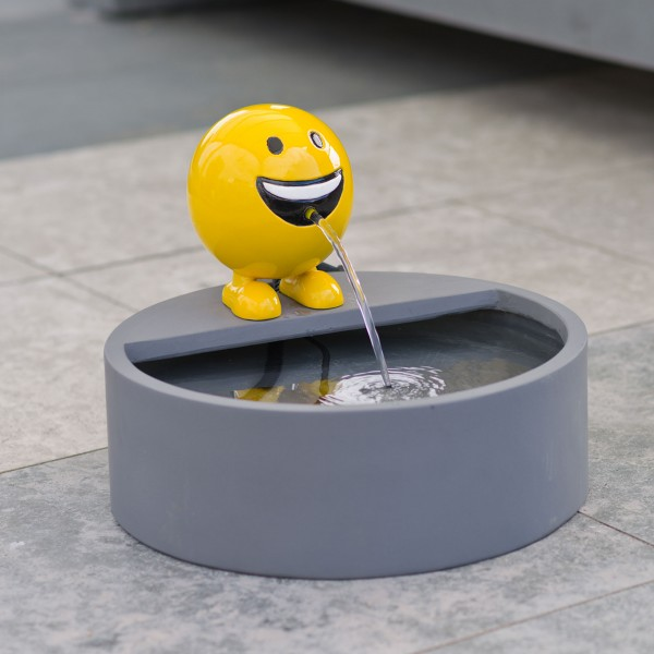 Wasserspeier Set Be Happy gelb mit Wasserbecken