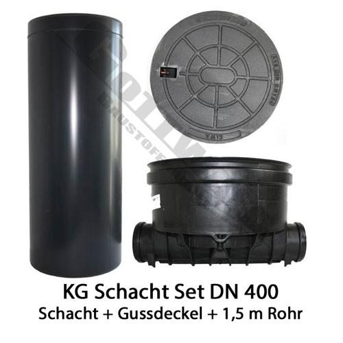 KG Schacht Set Dn 400 begehbar Gussdeckel - gerader Durchlauf - 1,5 Meter Steigrohr
