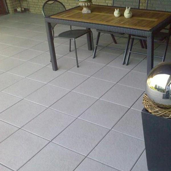 Terrassenplatte Belgische 40x40x4 cm mittelgrau Verlegebeispiel