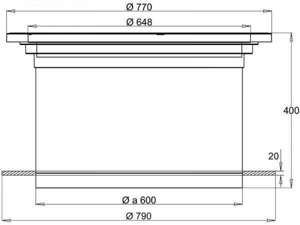 Schachtabdeckung DN 600 A15 begehbar ohne Griffmulden New Edition Teleskop