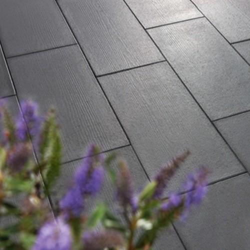 Terrassenplatte 80x40x4 cm Holzoptik - basalt schwarz
