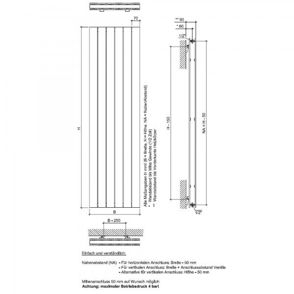 Heizkörper P1 Duplex anthrazit vertikal