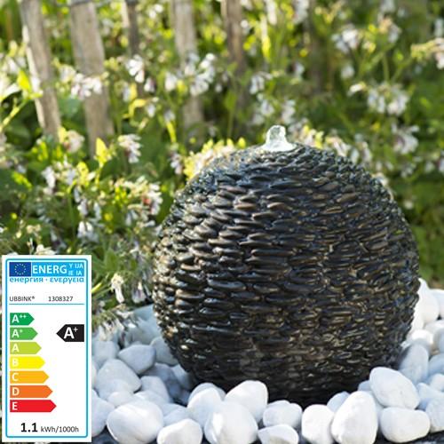 Wasserspiel Selva | dunkelbraun Naturstein | 8x1 LED | 36cm - Betonkugel mit LED