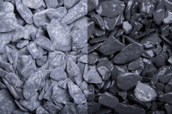 Canadian Slate 15-30 mm schwarz Schiefer trockener und nasser Zustand