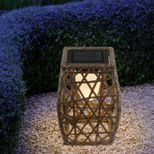 Solarleuchte - Rattanleuchte - H 27,5 cm - Gartenleuchte - braun