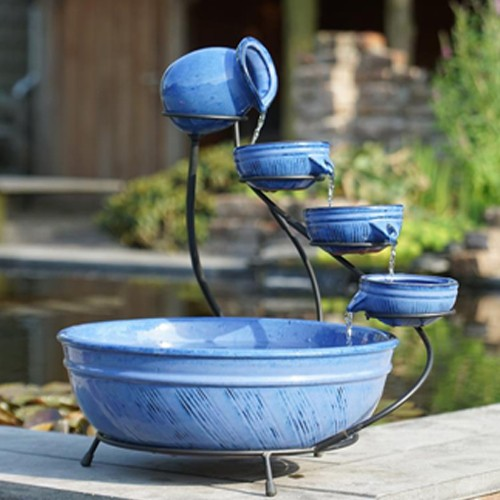 Keramik Brunnen | blau - Wasserschalen - Kaskadenbrunnen - Terrassenbrunnen