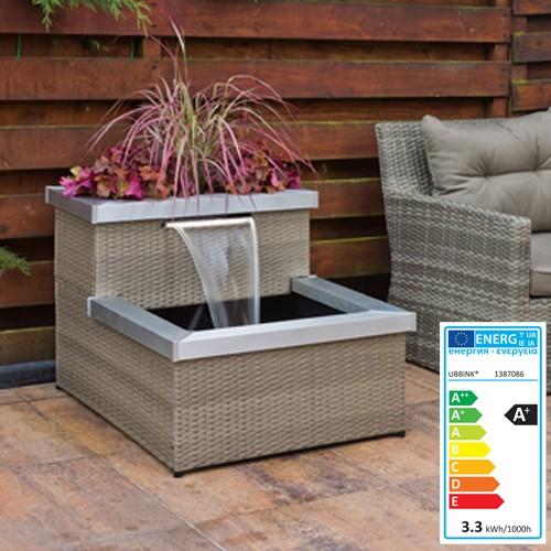 terrassenteich aveiro 66x100x78cm polyrattan grau beige ebay. Black Bedroom Furniture Sets. Home Design Ideas