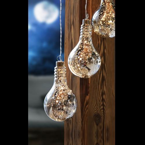 LED Glühbirne - verchromt - Winterdeko