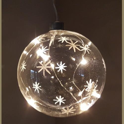 Led Hängeleuchte Glaskugel mit Sternen / Schneeflocken