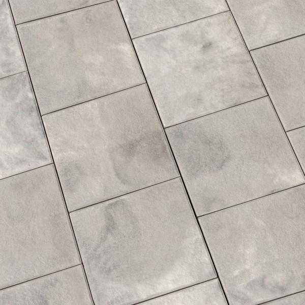 Terrassenplatte Ancona weiss schwarz geflammt 40x40x4 cm