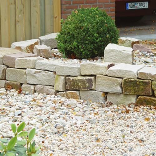 Knacker 10-20x15-20x25-50 cm gelb braun Sandstein Steinmauer