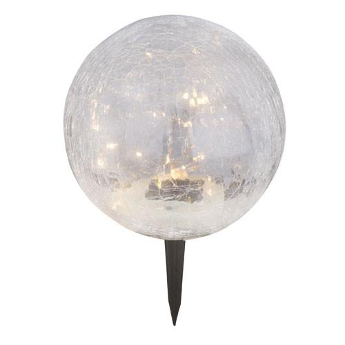 LED Solarleuchte mit Crackel Optik H. 29 cm inkl Erdspieß Solarkugel