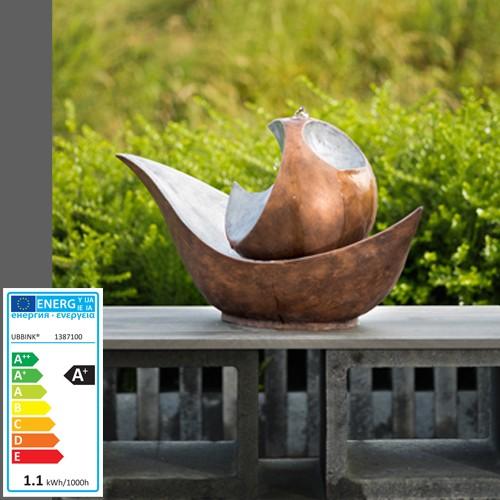 Wasserspiel Padula   Kupfer-Silber   42x80x36   LED Lichter - Terrasse