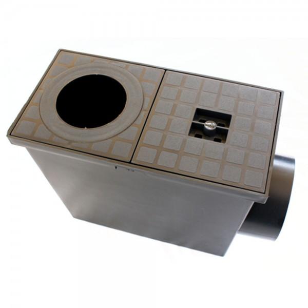 Regensinkkasten schwarz für DN 110 oder DN 75 Anschluss - Anschluss Fallrohr