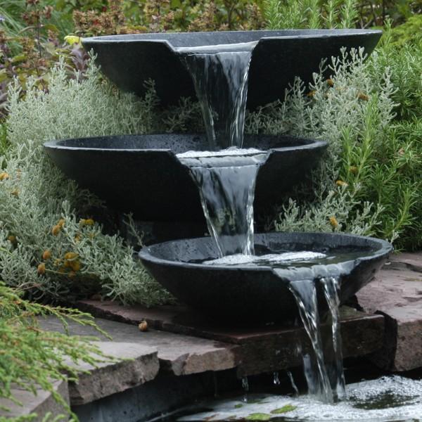 3 Wasserfall-Schalen Wasserspiel Gartenteich