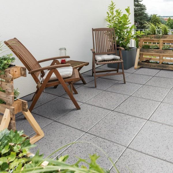 Terrassenplatte Optima granit grau 40x40x4 cm