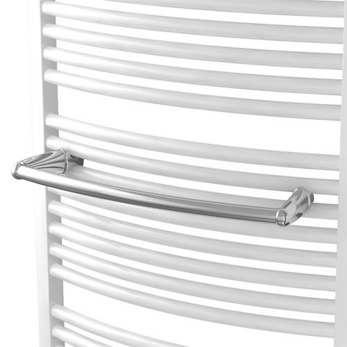 Gebogende Handtuchstange Design weiß oder chrom für Badheizkörper Ximax