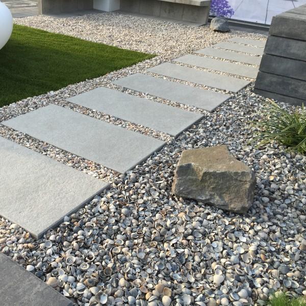 Terrassenplatte Belgische 80x40x4 cm grau weiss Verlegbeispiel 1