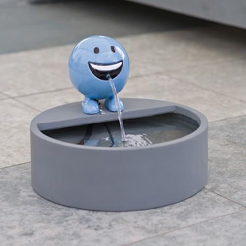 Wasserspeier Set Be Happy blau mit Wasserbecken