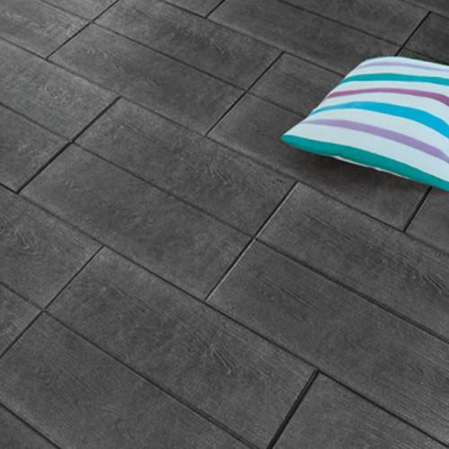 Terrassenplatte 60x40x4 cm basalt schwarz - Holzdielenoptik