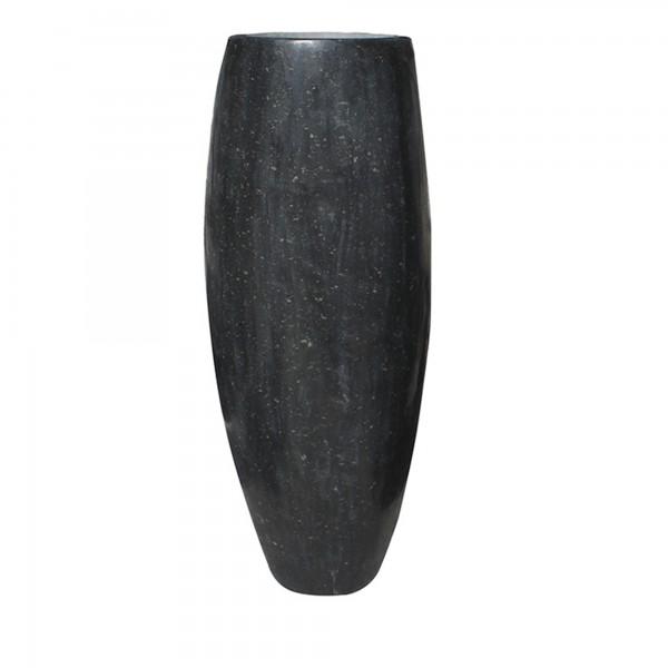 Steinvase schwarz gebohrt