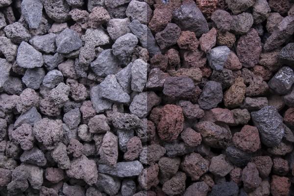 Lava Splitt braun 8 - 16 mm trockener und nasser Zustand