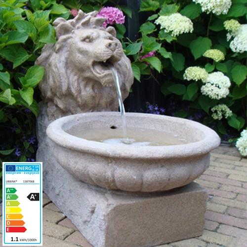 Wasserspiel Löwenkopf | 37,5x45,5x51,5cm | LED-Lichter