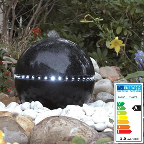 Wasserspiel Dubai | 36 LED Licher | schwarz - Terrazokugel Garten