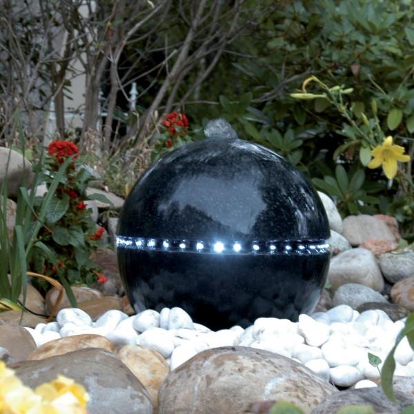 Wasserspiel Dubai mit LED schwarze Terrazokugel