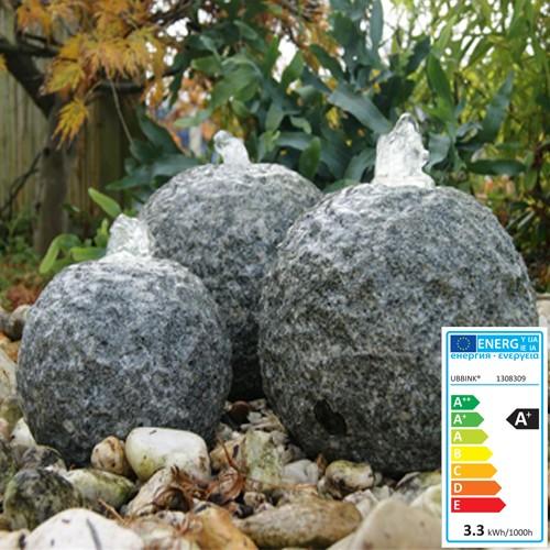 Wasserspiel Kozani | 3 Granitkugeln | 3x LED