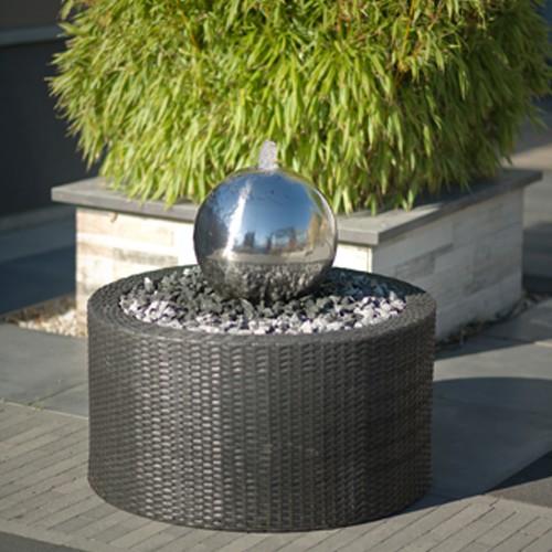 Edelstahl-Kugel Kambos mit Becken und Led