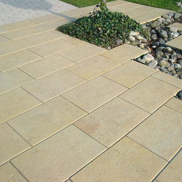Terrassenplatte Belgische 60x40x4 cm sandstein Verlegebeispiel