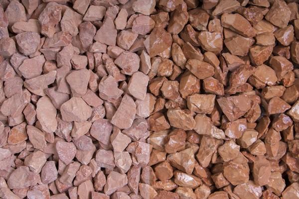 Rosso Verina Splitt 8 - 12 mm trockener und nasser Zustand