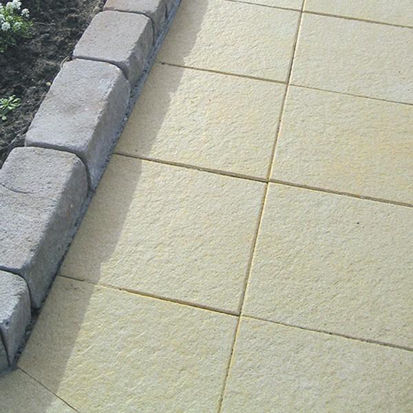 Terrassenplatte Belgische 40x40x4 cm sandstein Verlegebeispiel