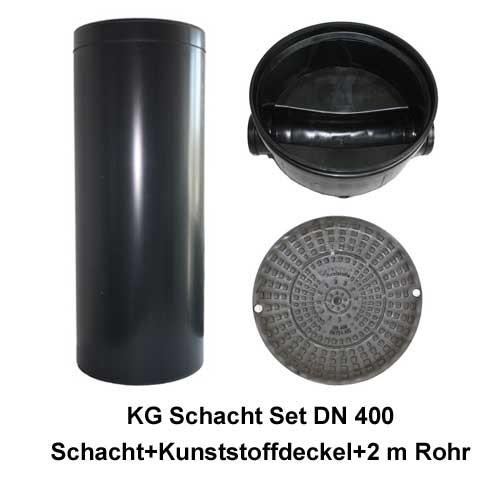 KG Schacht Set Dn 400 begehbar Kunststoffdeckel - Gerader Durchlauf - 2,0 Meter Steigrohr