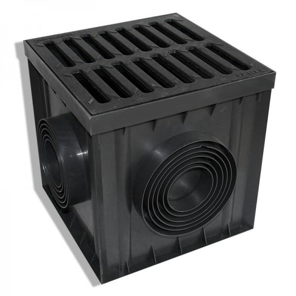 Hofablauf Bodenablauf befahrbar 30x30x30cm Regenablauf Einlaufkasten DN75 - DN160