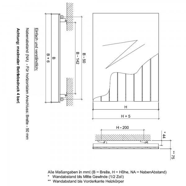 Heizkörper P1 Plan anthrazit horizontal