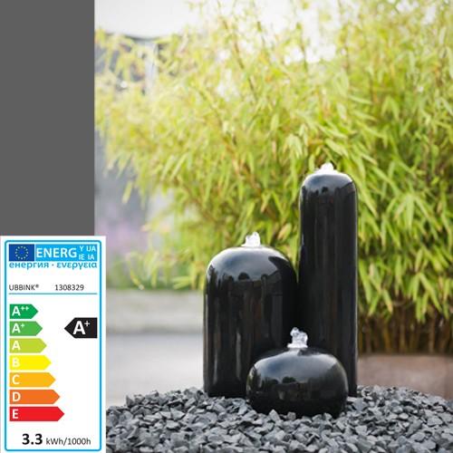 Wasserspiel Arezzo   3 Säulen Polystone   hellgrau   LED-Licht