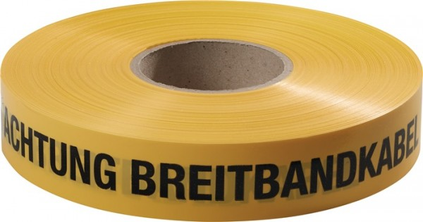 Trassenwarnband Aufdruck Achtung Breitbandkabel gelb