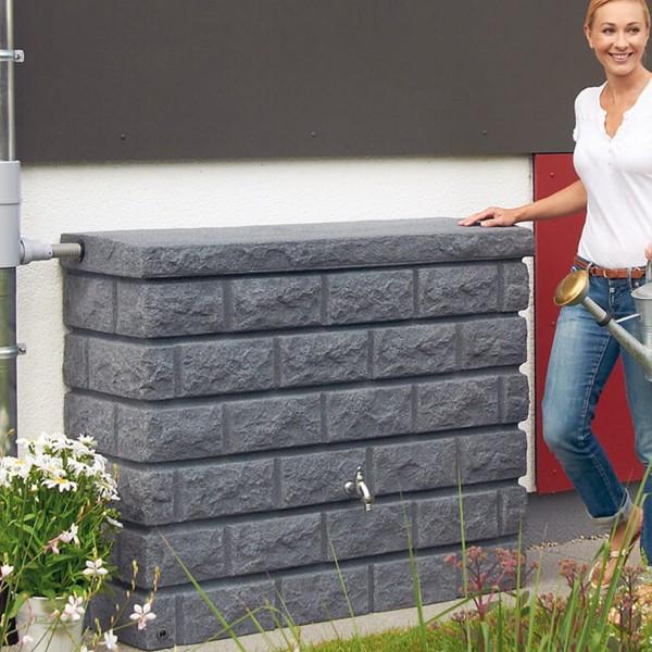Regenwasserspeicher Rocky dark granite Wandtank 400 L