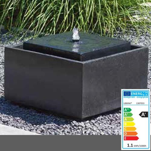 Wasserspiel Sonora | Terrazzo/Polystone | 50x50x33cm | antrazit | LED Lichter