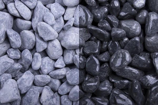 Nero Ebano getrommelt 15-25 mm Marmor schwarz trockener und nasser Zustand