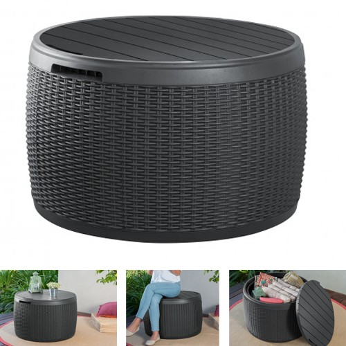 aufbewahrungsbox 143 liter rattan optik anthrazit terrasse balkon garten ab 89 00. Black Bedroom Furniture Sets. Home Design Ideas