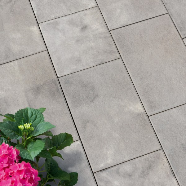 Terrassenplatte Ancona weiss schwarz 60x40x4 cm Beispiel
