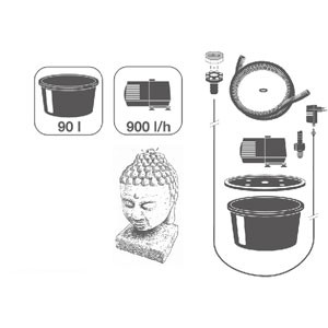 Wasserspiel Asiafigur Kopf   44x27x27cm   inkl. LED