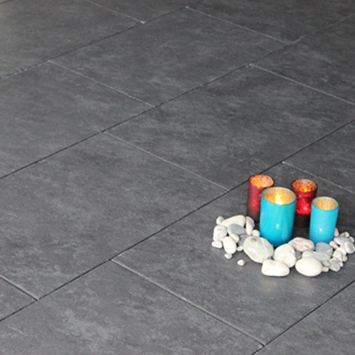 Terrassenplatte 60x40x4 cm schwarz - anthrazit - Latio Marmor Effekt