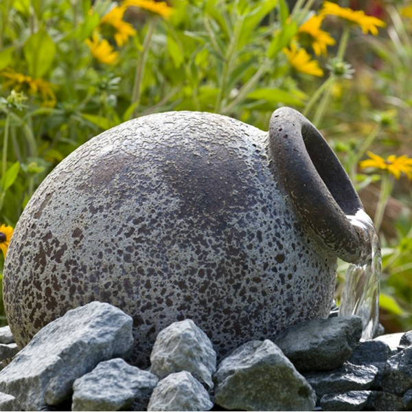 Wasserspiel Amphore Orange 21x21x26 cm - Keramik